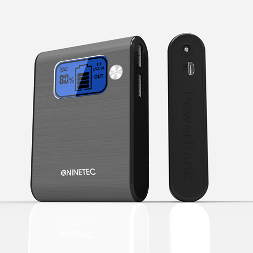NINETEC-10-000mAh-Power-Bank-Mobiler-Akku-Ladegeraet-USB-Smartphone-grau-D565