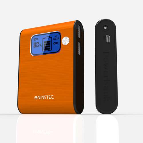NINETEC-10-000mAh-Power-Bank-Mobiler-Akku-Ladegeraet-USB-Smartphone-orange-D565
