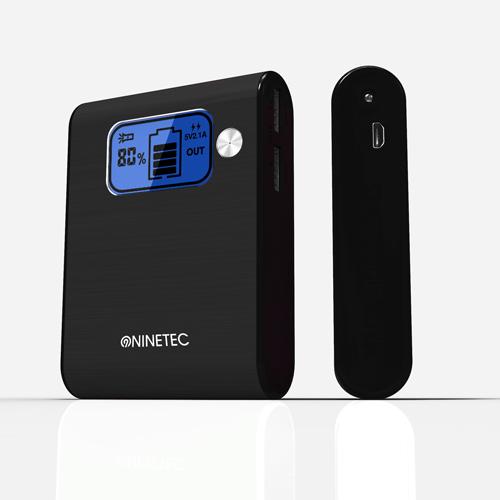 NINETEC-10-000mAh-Power-Bank-Mobiler-Akku-Ladegeraet-USB-Smartphone-schwarz-D565