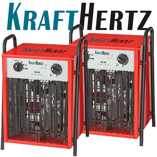 2x-KRAFTHERTZ-Elektro-Heizluefter-Heizgeblaese-Werkstattheizung-Bauheizer-KH09-9KW