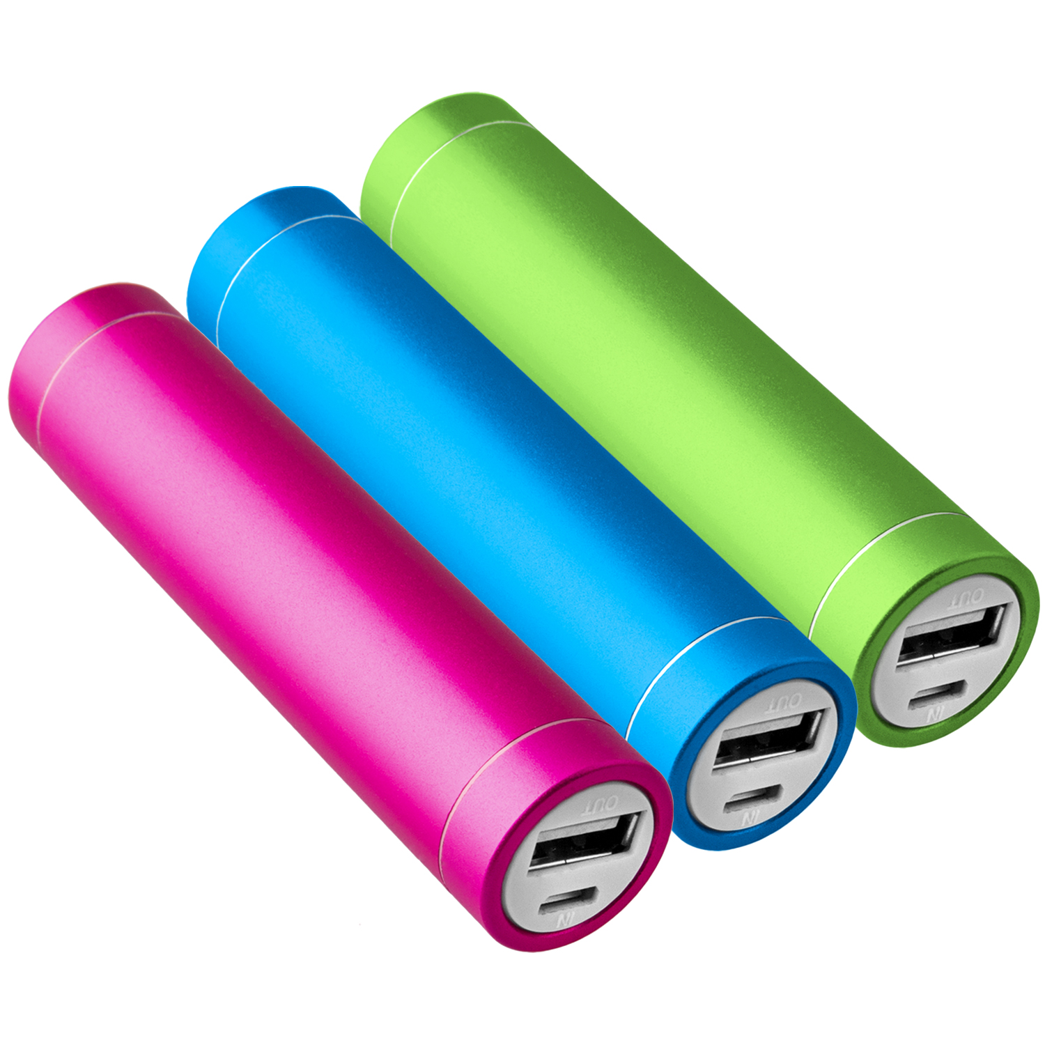 3x-Power-Bank-Akku-2600-mAh-Ladegeraet-extern-USB-iPhone-gruen-pink-blau-NT003