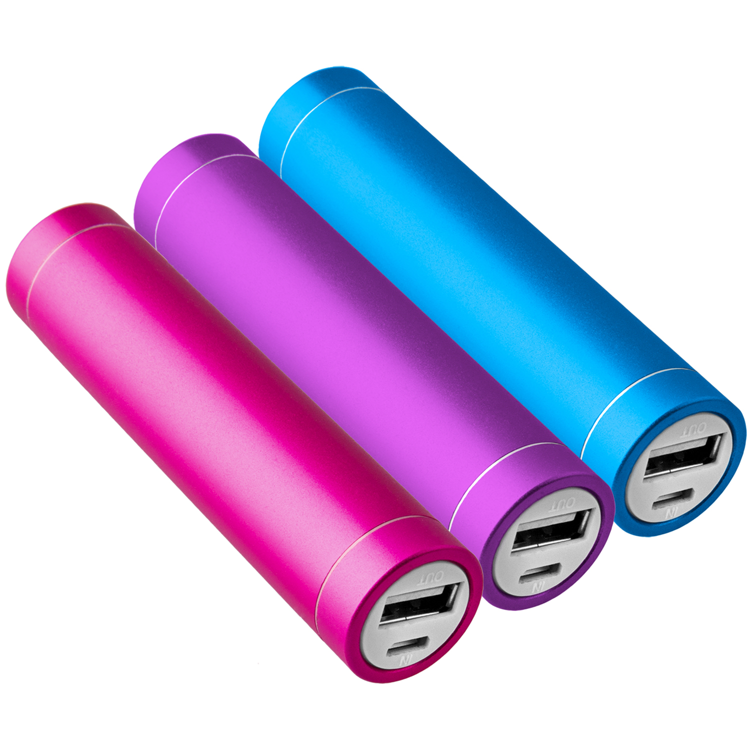 3x-Power-Bank-Akku-2600-mAh-Ladegeraet-extern-USB-iPhone-pink-blau-lila-NT003