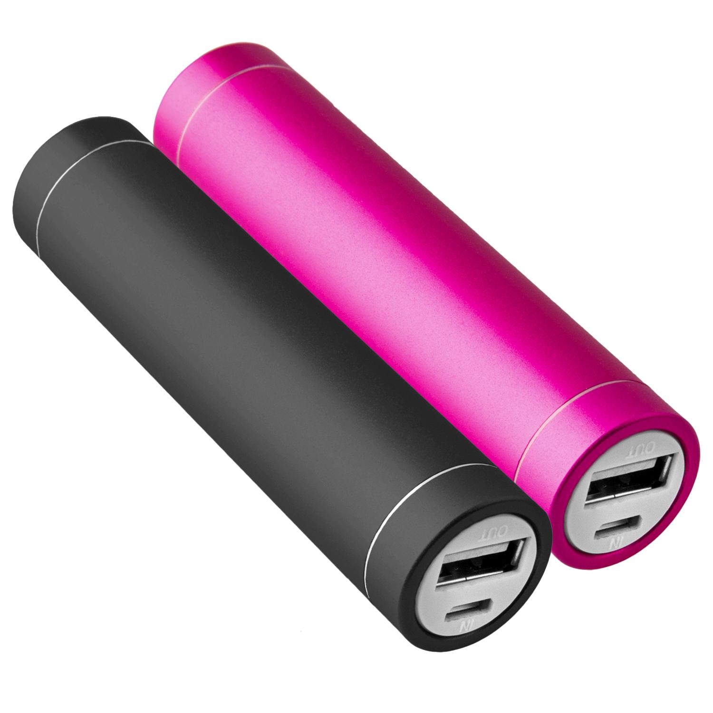 2x-Power-Bank-Akku-2600-mAh-Ladegeraet-extern-USB-iPhone-4-4S-pink-schwarz-NT003