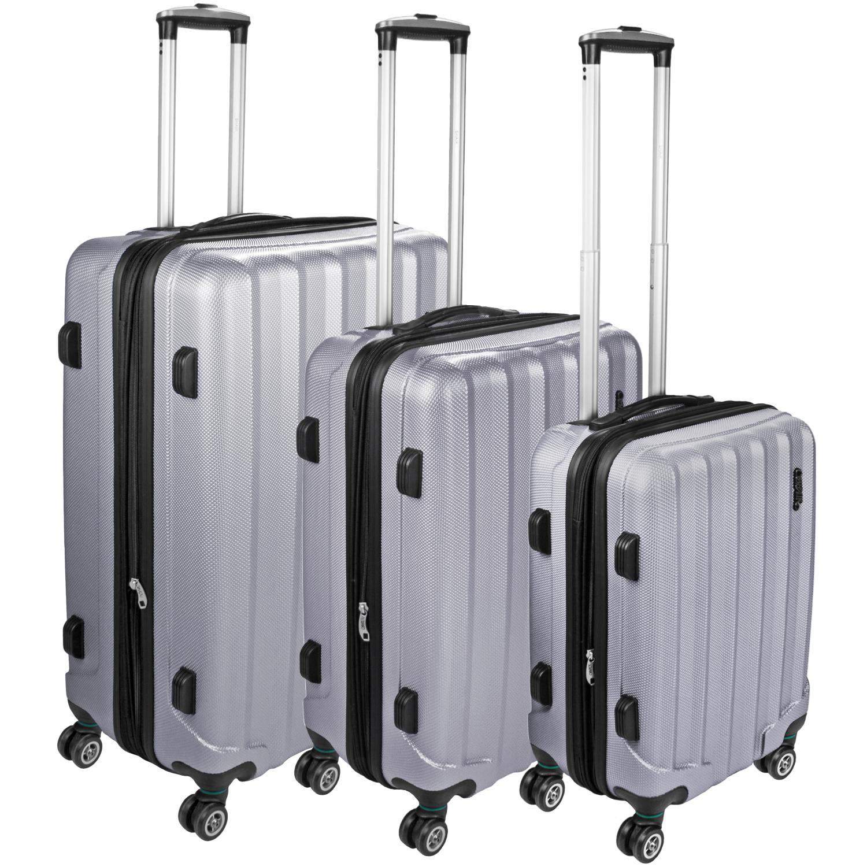 set 3 reise koffer trolley hartschalenkoffer 360 rollen. Black Bedroom Furniture Sets. Home Design Ideas