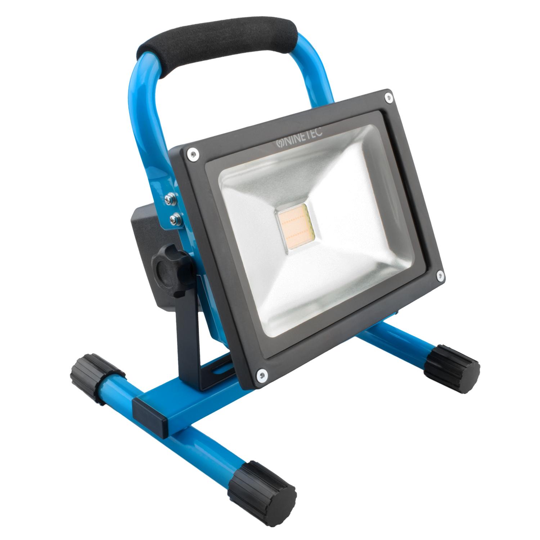 ninetec 20w led akku strahler flutlicht arbeitsleuchte baustrahler ip65 blau ebay. Black Bedroom Furniture Sets. Home Design Ideas