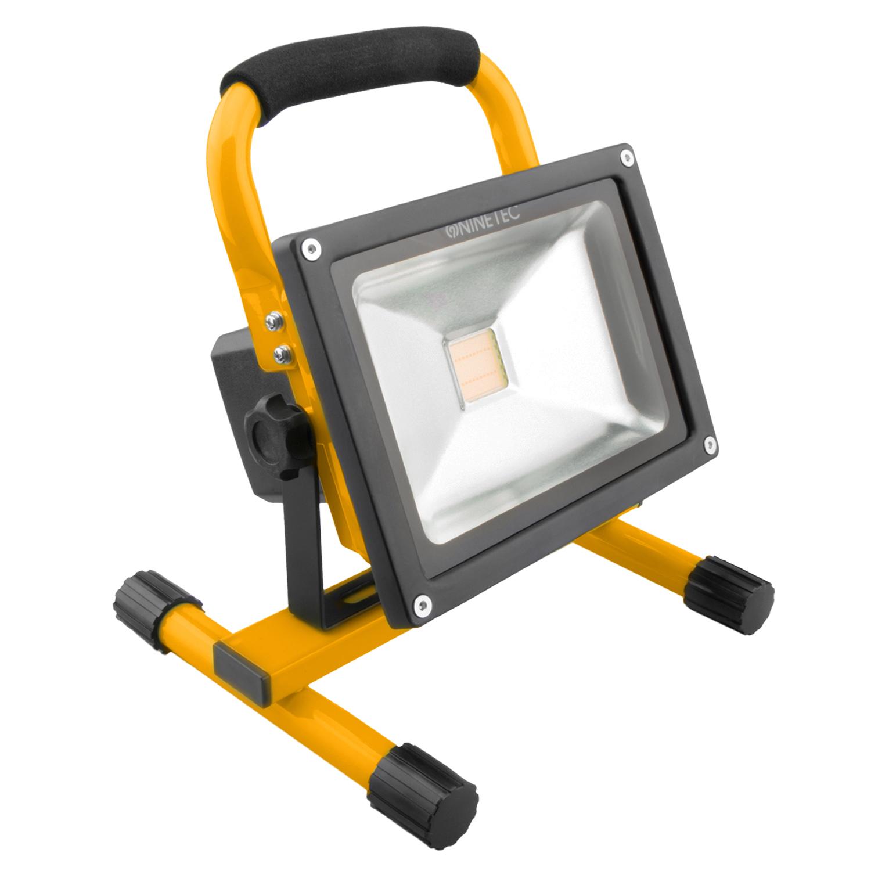 ninetec 20w led akku strahler flutlicht arbeitsleuchte baustrahler ip65 gelb ebay. Black Bedroom Furniture Sets. Home Design Ideas
