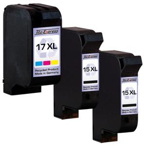 Megaset 3 Patronen XXL recycled ProSerie. Ersetzt HP 15 & 17