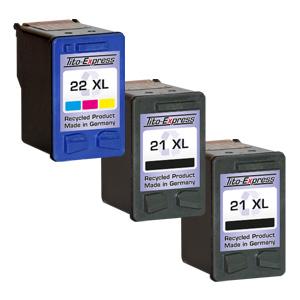 Megaset 3 Patronen XXL recycled ProSerie. Ersetzt HP 21 & 22