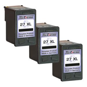 3x Druckerpatrone XXL recycled ProSerie. Ersetzt HP 27