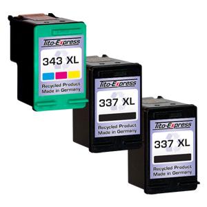 Megaset 3 Patronen XXL recycled ProSerie. Ersetzt HP 337 & 343