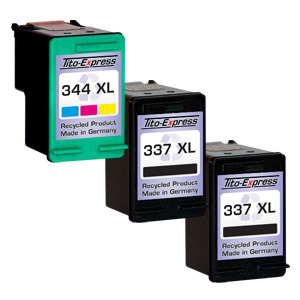 Megaset 3 Patronen XXL recycled ProSerie. Ersetzt HP 337 & 344