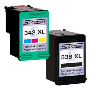 Sparset 2 Patronen XXL recycled ProSerie. Ersetzt HP 338 & 342