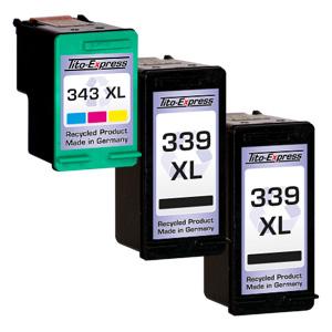 Megaset 3 Patronen XXL recycled ProSerie. Ersetzt HP 339 & 343