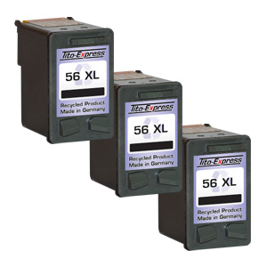 3x Druckerpatrone XXL recycled ProSerie. Ersetzt HP 56