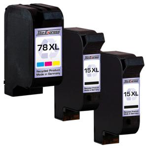Megaset 3 Patronen XXL recycled ProSerie. Ersetzt HP 15 & 78