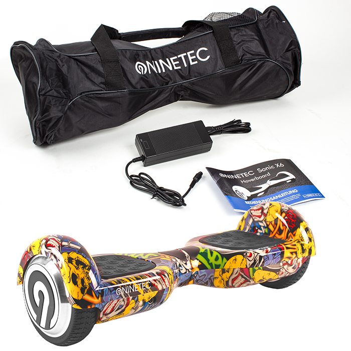 ninetec sonic x6 smart hoverboard schwarz e balance roller. Black Bedroom Furniture Sets. Home Design Ideas