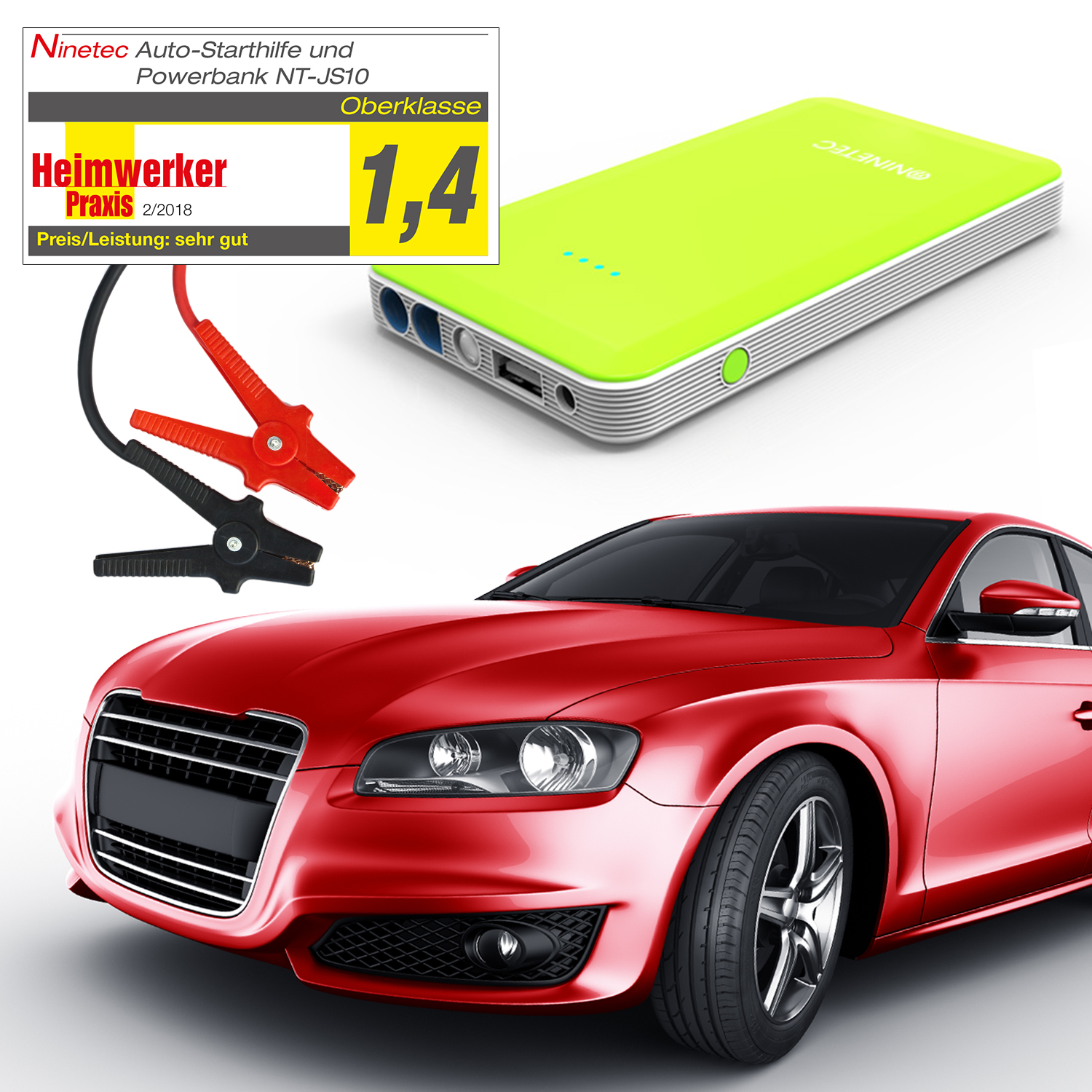ninetec power bank jump starter 12v auto starthilfe ladeger t nt js10 gr n ebay. Black Bedroom Furniture Sets. Home Design Ideas