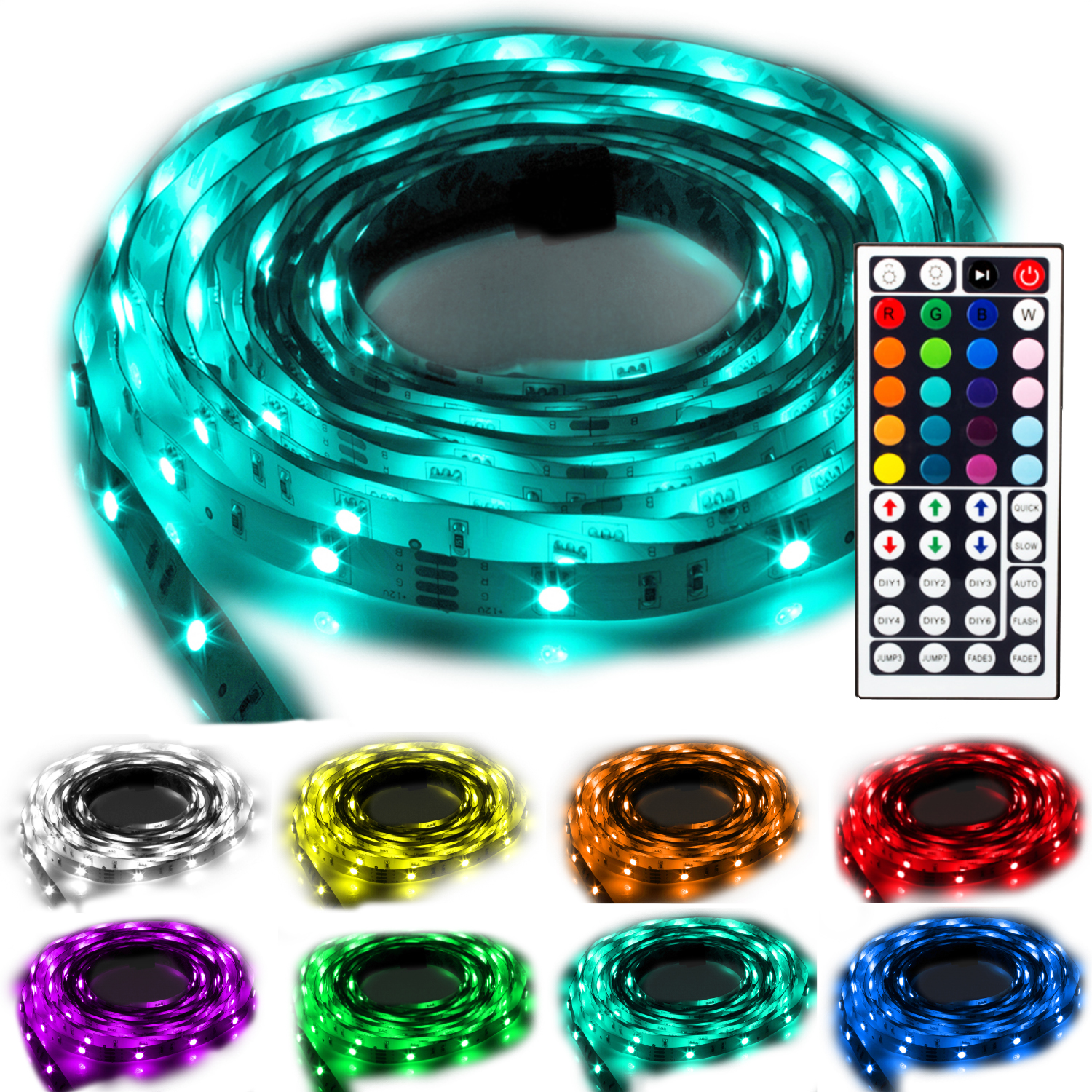 ninetec flash30 5m led stripe band kette rgb 44 key fernbedienung dimmbar ip20 ebay. Black Bedroom Furniture Sets. Home Design Ideas
