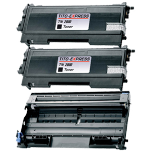 Trommel & 2 Toner SuperXL kompatibel zu Brother TN-2000 & DR-2000
