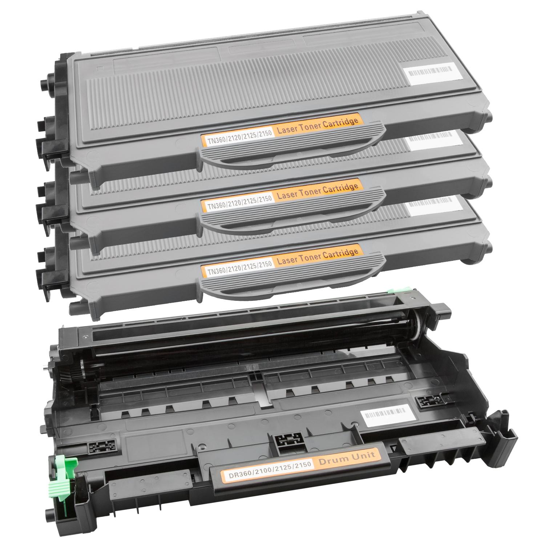 Trommel & 3 Toner XL kompatibel zu Brother TN-2120 & DR-2100