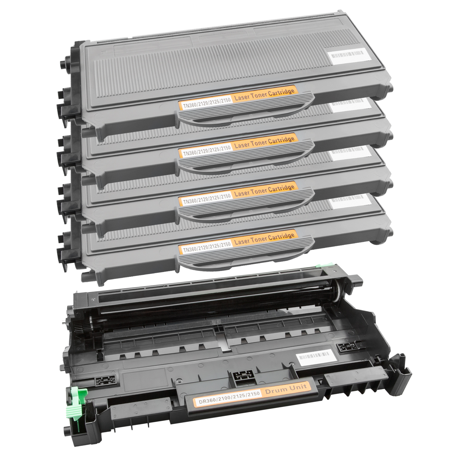 Trommel & 4 Toner SuperXL kompatibel zu Brother TN-2120 & DR-2100