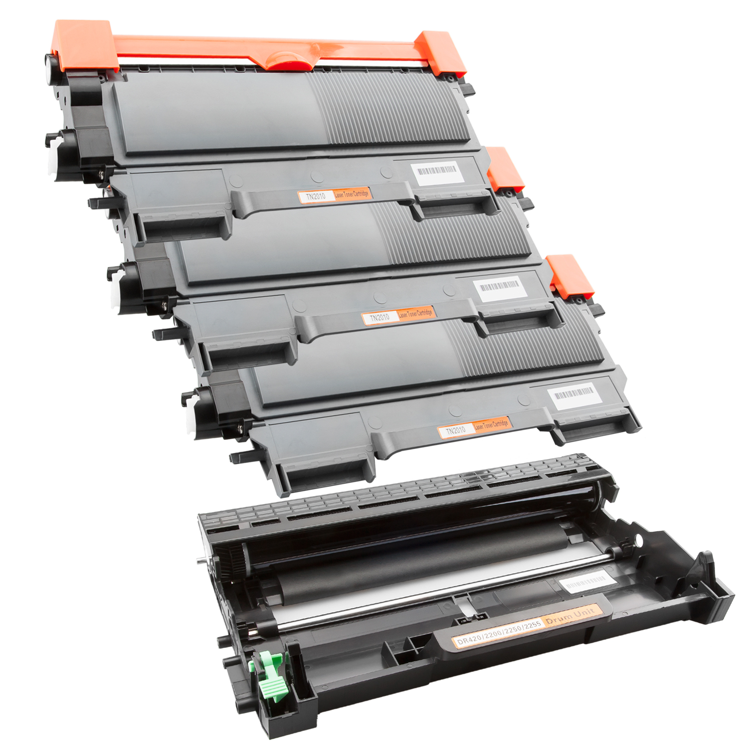 Trommel & 3 Toner SuperXL kompatibel zu Brother TN-2010 & DR-2200