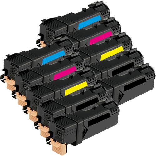 Set 10 Toner XXL ProSerie kompatibel zu Xerox 6125K, 6125C, 6125M, 6125Y