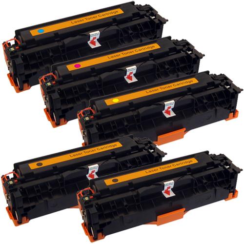 Set 5 Toner XXL ProSerie kompatibel zu HP CC530A, CC531A, CC532A, CC533A, 304A