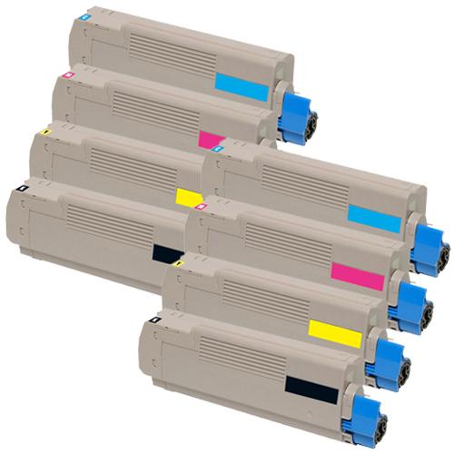 Set 8 Toner XXL ProSerie kompatibel zu OKI C5600/C5700K, C5600/C5700C, C5600/C5700M, C5600/C5700Y