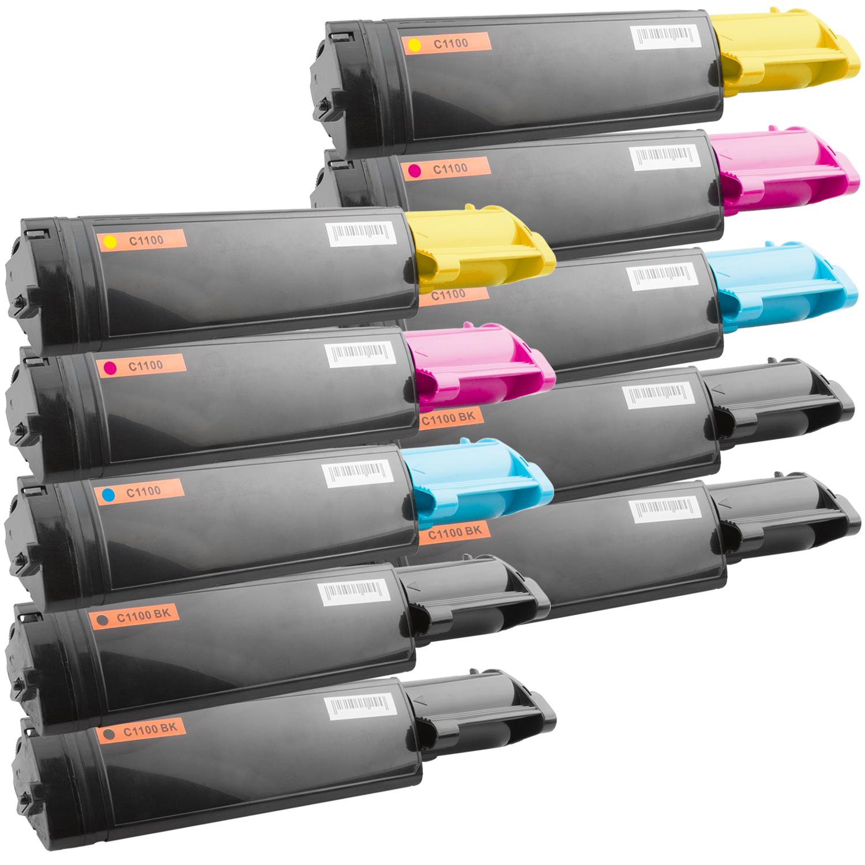Set 10 Toner XXL ProSerie kompatibel zu Epson C1100K, C1100C, C1100M, C1100Y