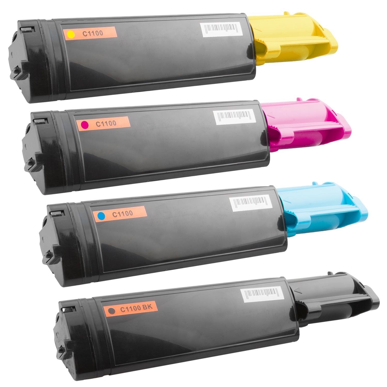 Set 4 Toner XXL ProSerie kompatibel zu Epson C1100K, C1100C, C1100M, C1100Y