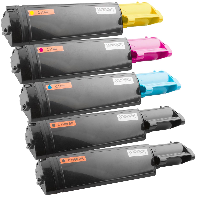 Set 5 Toner XXL ProSerie kompatibel zu Epson C1100K, C1100C, C1100M, C1100Y