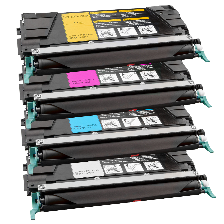 Set 4 Toner XXL ProSerie kompatibel zu Lexmark C734K, C734C, C734M, C734Y