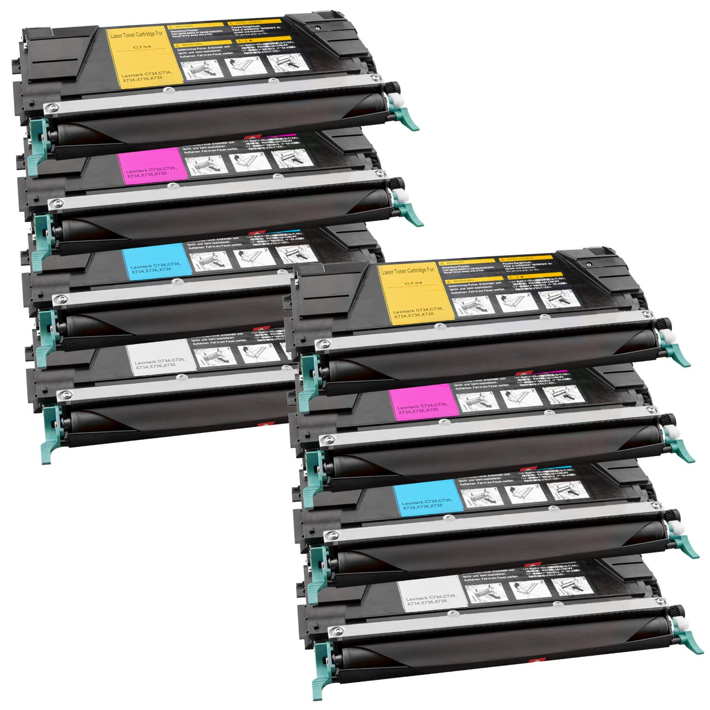 Set 8 Toner XXL ProSerie kompatibel zu Lexmark C734K, C734C, C734M, C734Y