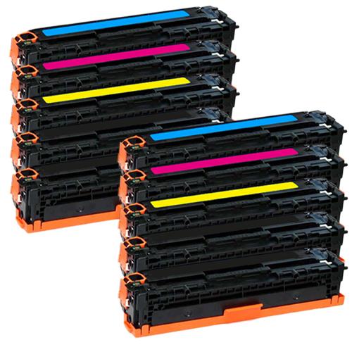 Set 10 Toner XXL ProSerie kompatibel zu HP CB540A, CB541A, CB542A, CB543A, 125A