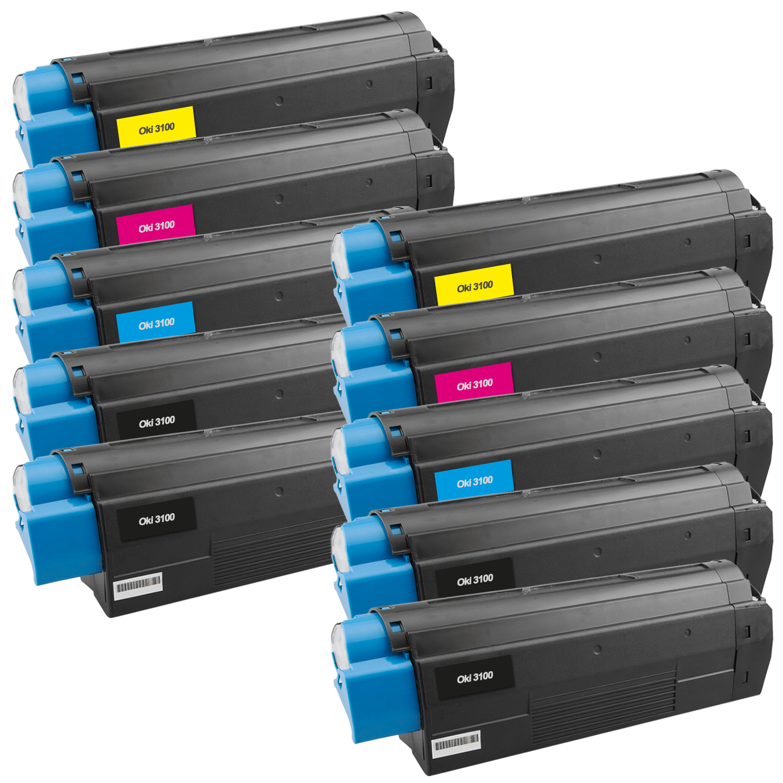 Set 10 Toner XXL ProSerie kompatibel zu OKI C3100/C5100K, C3100/C5100C, C3100/C5100M, C3100/C5100Y