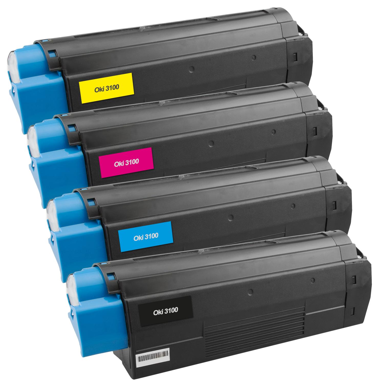 Set 4 Toner XXL ProSerie kompatibel zu OKI C3100/C5100K, C3100/C5100C, C3100/C5100M, C3100/C5100Y