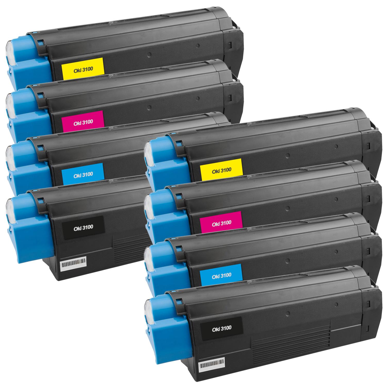 Set 8 Toner XXL ProSerie kompatibel zu OKI C3100/C5100K, C3100/C5100C, C3100/C5100M, C3100/C5100Y