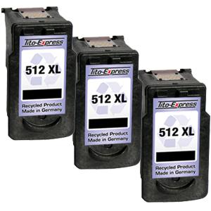 3x Druckerpatrone XXL recycled ProSerie. Ersetzt Canon PG-512