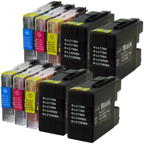 Sparset 10 Patronen XXL ProSerie kompatibel zu Brother LC-1280 BK, C, M, Y