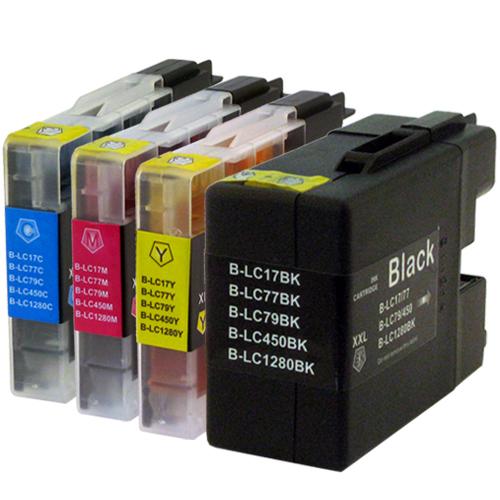 Sparset 4 Patronen XXL ProSerie kompatibel zu Brother LC-1280 BK, C, M, Y