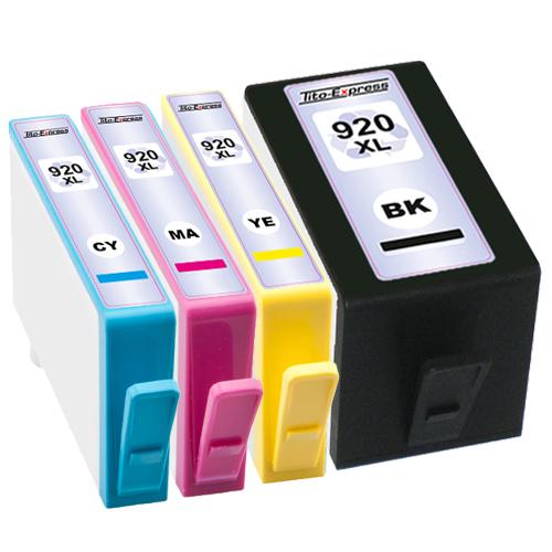 Sparset 4 Patronen XXL ProSerie kompatibel zu HP 920XL BK, C, M, Y