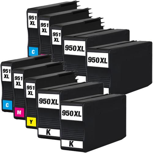 Sparset 10 Patronen XXL ProSerie kompatibel zu HP 950XL & 951XL BK, C, M, Y