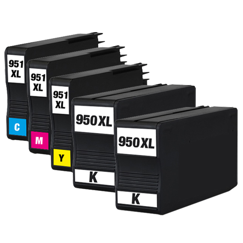 Sparset 5 Patronen XXL ProSerie kompatibel zu HP 950XL & 951XL BK, C, M, Y