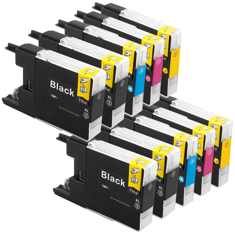 Sparset 10 Patronen XXL ProSerie kompatibel zu Brother LC-1240 BK, C, M, Y