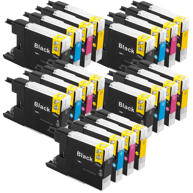 Sparset 20 Patronen XXL ProSerie kompatibel zu Brother LC-1240 BK, C, M, Y