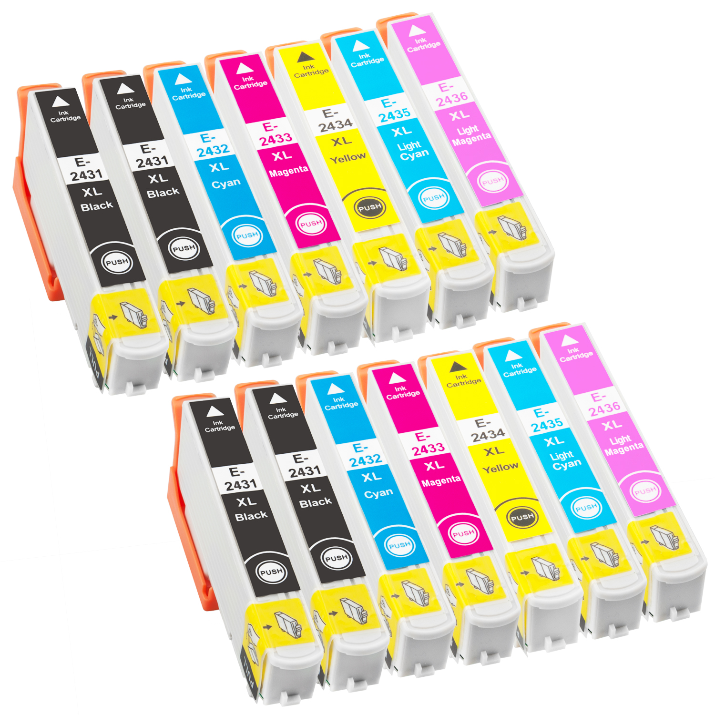 Sparset 14 Patronen XXL ProSerie kompatibel zu Epson T2431-T2436 24XL
