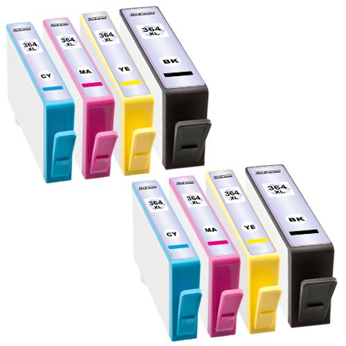 Sparset 8 Patronen XXL ProSerie kompatibel zu HP 364XL BK, C, M, Y