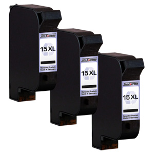3x Druckerpatrone XXL recycled ProSerie. Ersetzt HP 15