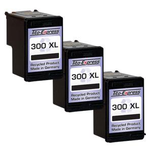 3x Druckerpatrone XXL recycled ProSerie. Ersetzt HP 300XL Black